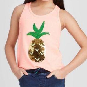 Cat & Jack Peach Racerback Sequin Pineapple Top XS